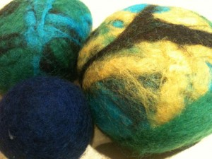 Felting is fun to experiment with different colours