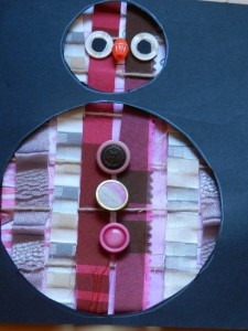Decorative card made from fabric and buttons, and using circular templates