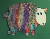 A sheep card using wool in fun colours!